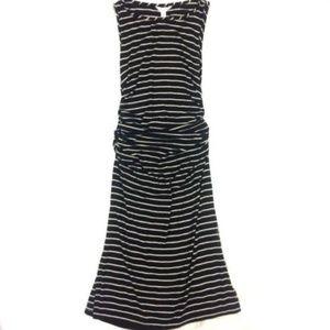 Athleta Striped Ruched Tank Jersey Dress Stretch